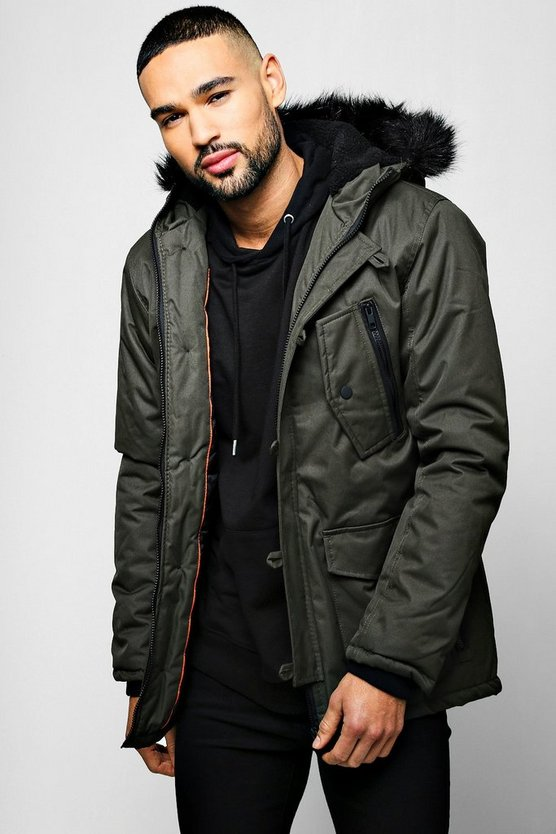 Mens Khaki Black Faux Fur Hooded Parka