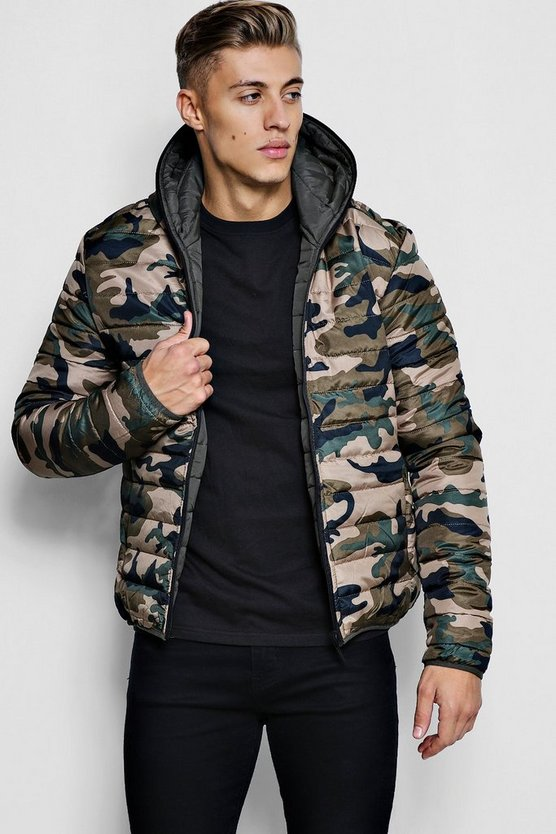 Reverse Camo Puffer With Hood