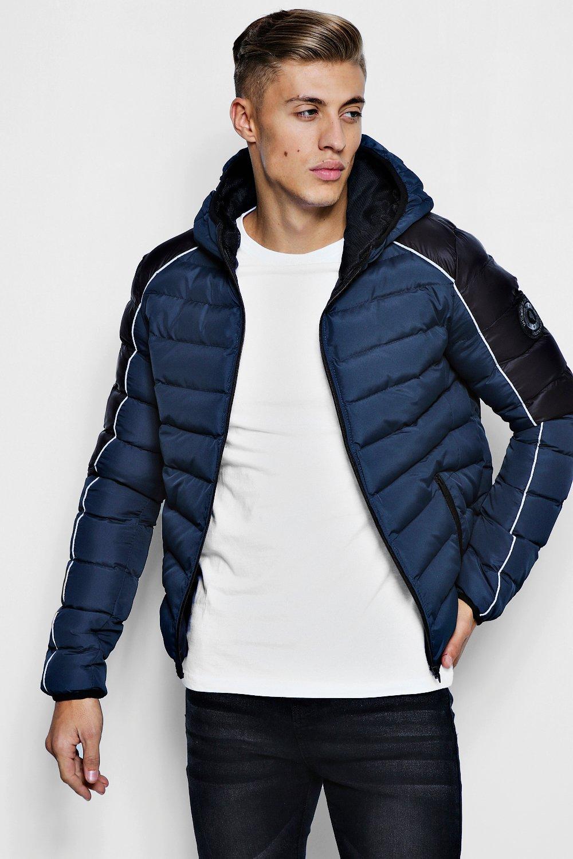 Contrast Raglan Puffer Jacket