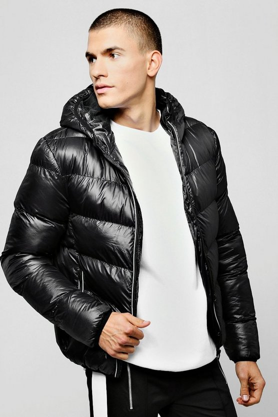 High Shine Puffer With Contrast Zips