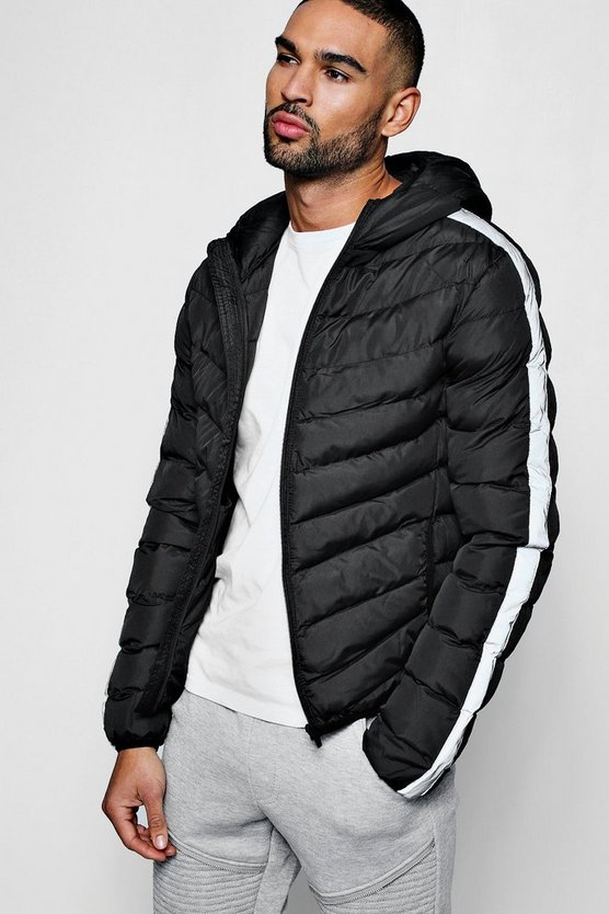 Mens Silver Reflective Contrast Side Panel Puffer