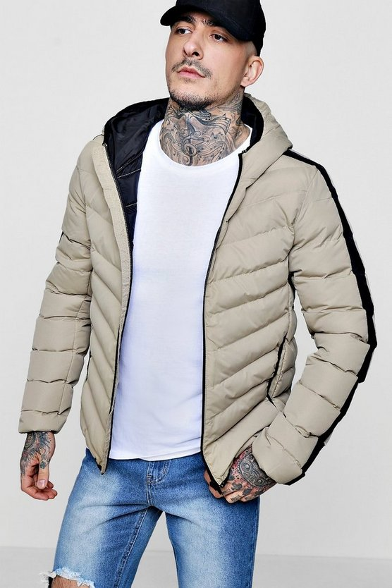Contrast Side Panel Hooded Puffer
