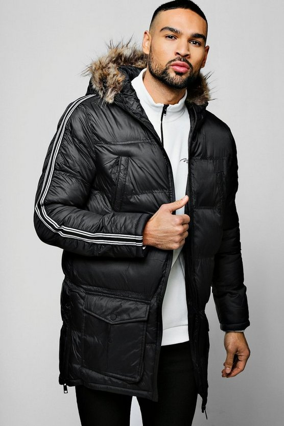 Quilted Hooded Parka With Stripe Taping