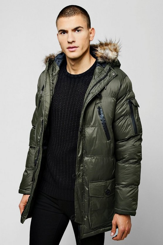 Hooded Quilted Faux Fur Parka