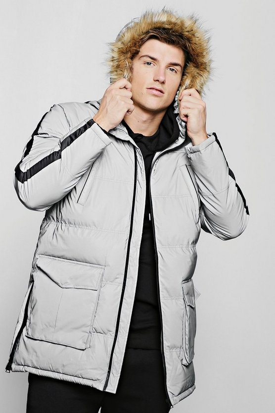 Mens Silver Reflective Quilted Parka With Faux Fur Hood