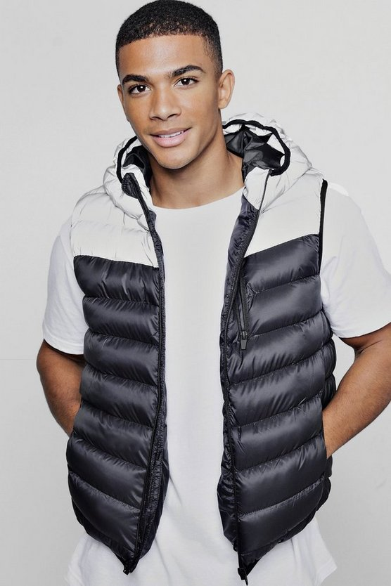 Mens Black Reflective Panel Quilted Gilet