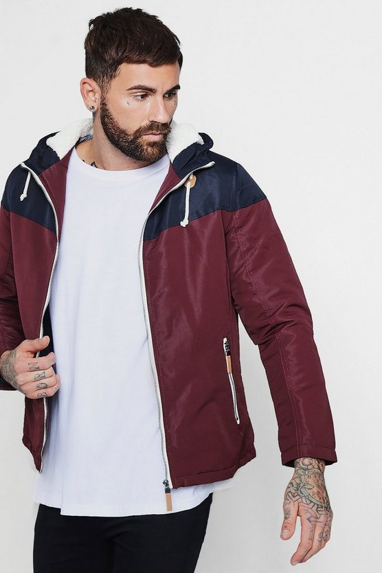 Colour Block Hooded Zip Through Jacket