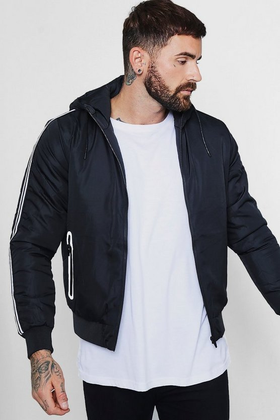 Sports Stripe Hooded Zip Through Jacket