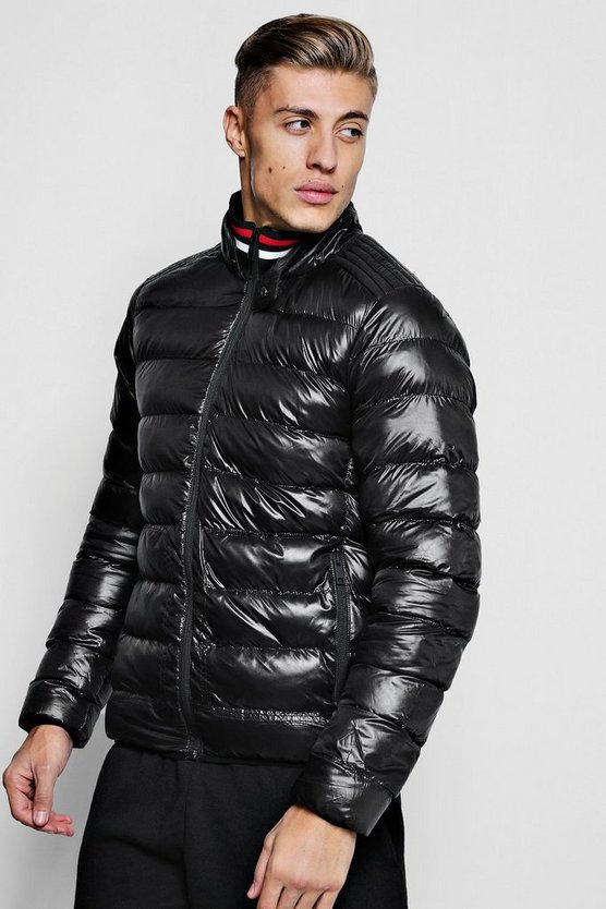 High Shine Puffer With Sports Neck