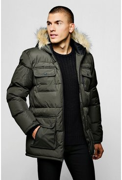 Mens Khaki Multi Pocket Quilted Parka with Faux Fur Hood