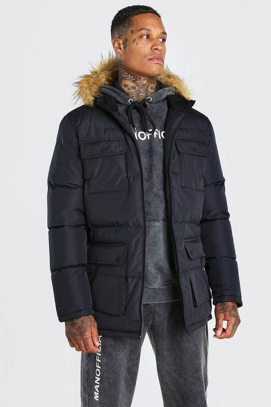 Multi Pocket Quilted Parka