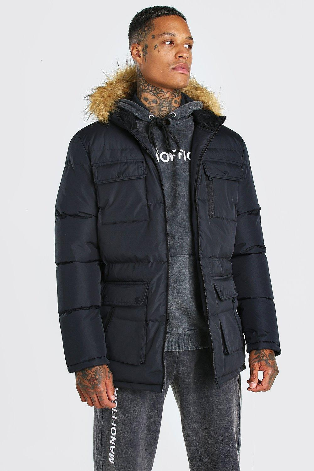 e1a2367c9 Multi Pocket Quilted Parka with Faux Fur Hood   Boohoo