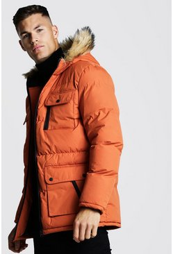 Mens Orange Multi Pocket Quilted Parka with Faux Fur Hood