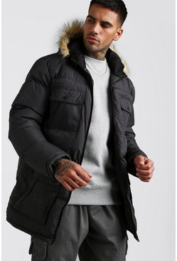 Charcoal Multi Pocket Quilted Parka with Faux Fur Hood