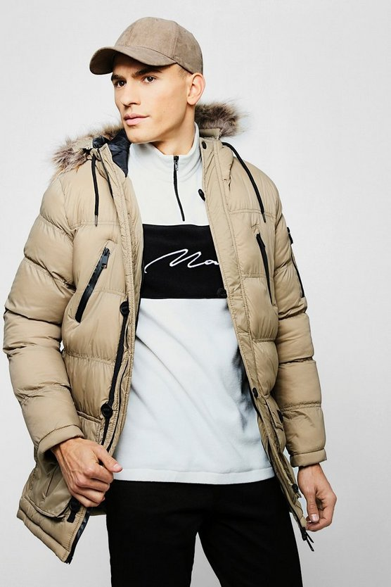 Faux Fur Hooded Quilted Parka