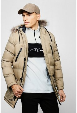Mens Stone Faux Fur Hooded Quilted Parka