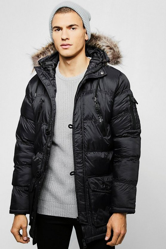 Mens Black Hooded Quilted Parka