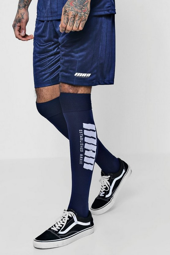 Mens Navy MAN Mid Length Football Shorts