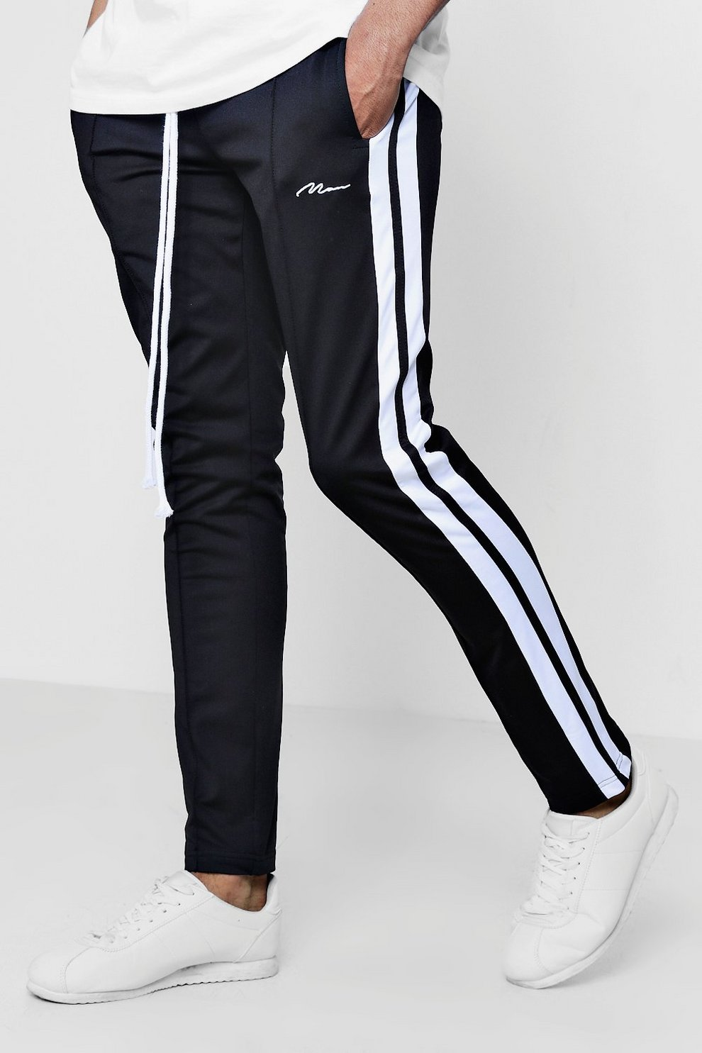 a186921fc3091 Skinny Fit MAN Signature Joggers With Side Stripe | Boohoo