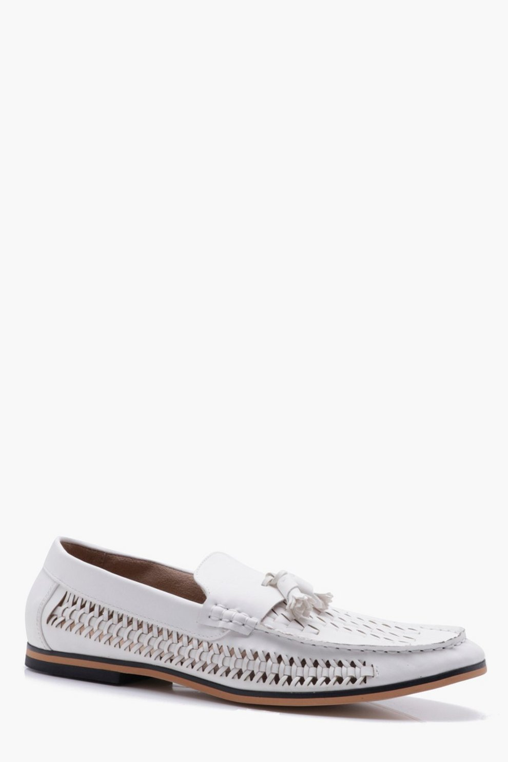 1ad2bdfcd62e7 Tassel Front PU Woven Loafer | Boohoo