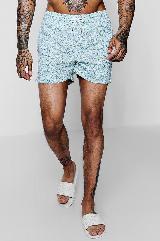 Green Ditsy Floral Print Swim Shorts