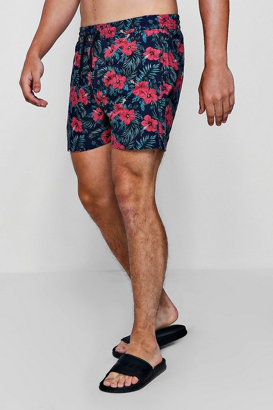Mens Navy Tropical Floral Print Swim Shorts