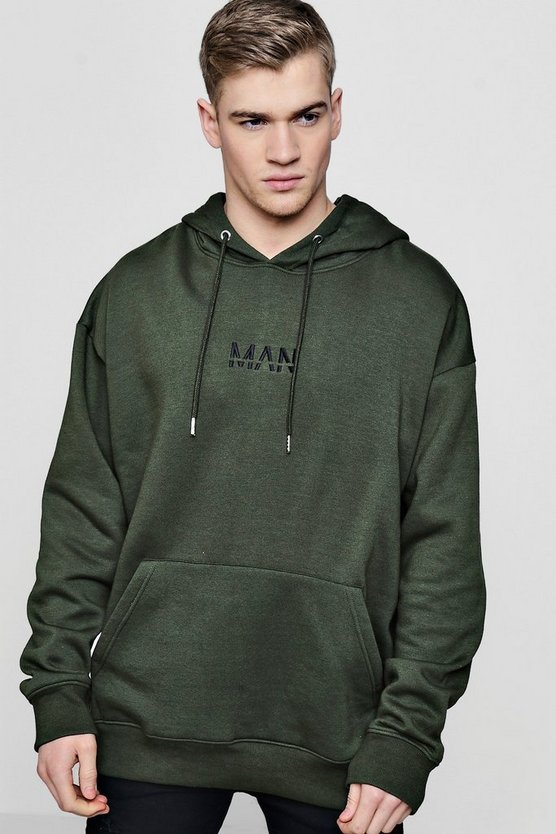 Oversized MAN Embroidered Fleece Hoodie