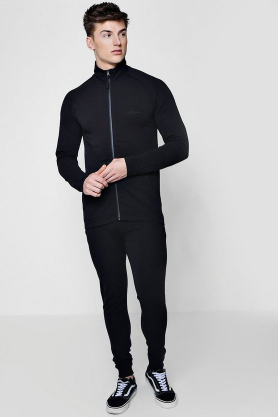 MAN Signature Muscle Fit Funnel Neck Tracksuit