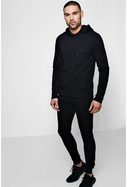 Black MAN Signature Muscle Fit Hooded Tracksuit