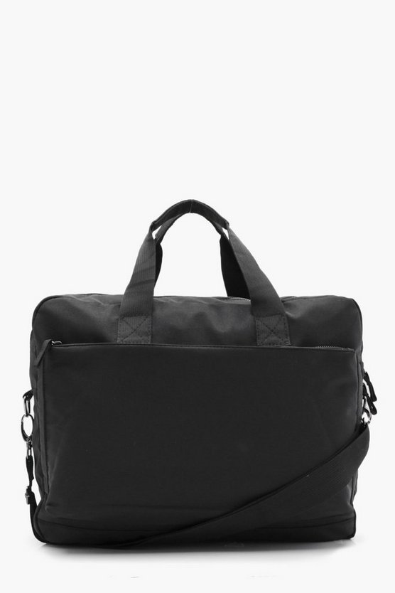 Mens Black Nylon Zip Laptop Bag