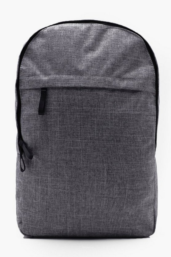 Mens Grey Textured Nylon Rucksack