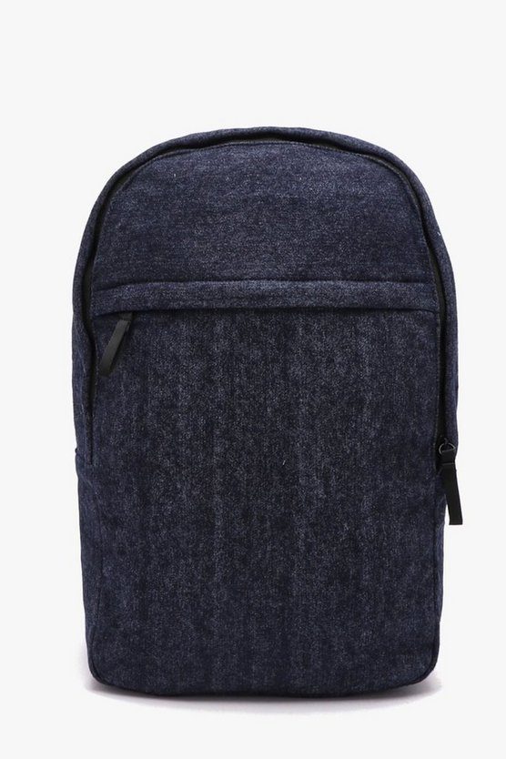 Mens Navy Textured Nylon Rucksack