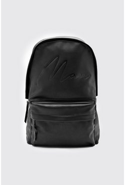 Mens Black MAN Script Embossed PU Rucksack