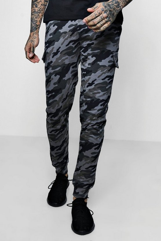 Skinny Fit Camo Cuffed Cargo Jogger