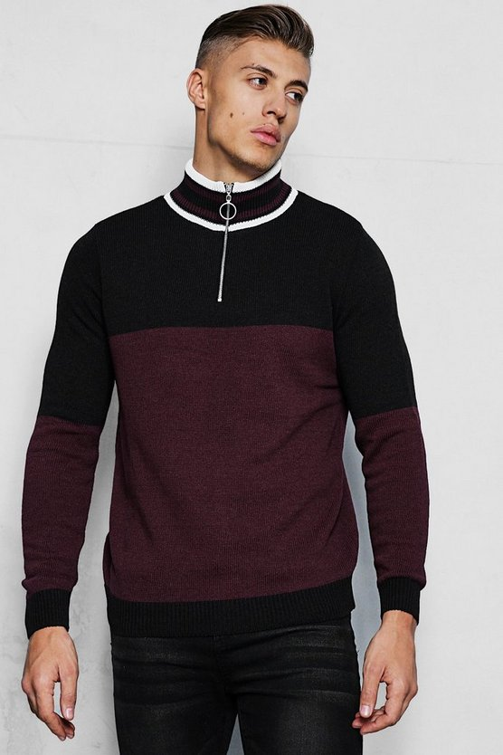 Mens Burgundy Half Zip Funnel Neck Colour Block Jumper