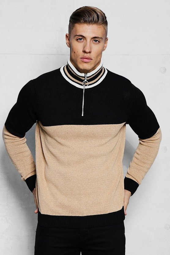 Half Zip Funnel Neck Colour Block Knitted Jumper