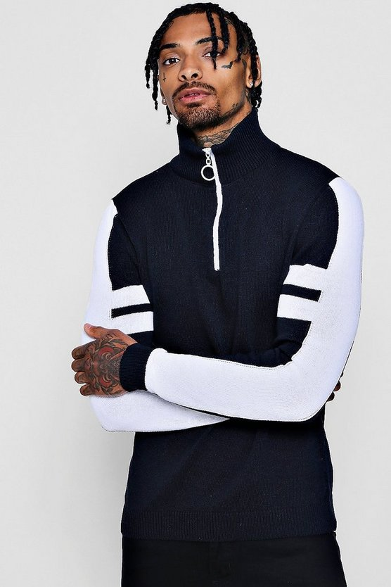 Half Zip Funnel Neck Arm Stripe Knitted Jumper