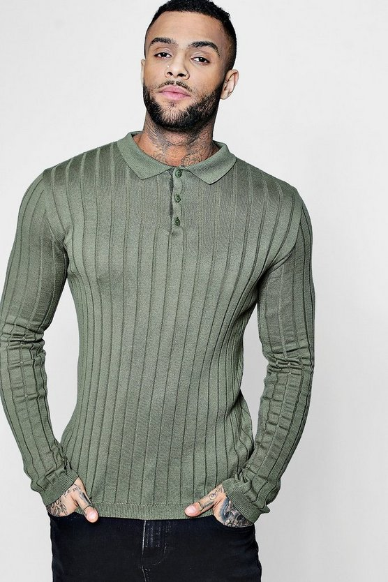 Muscle Fit Rib Knitted Long Sleeve Polo