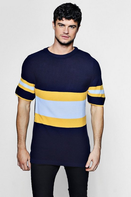 Colour Block Knitted T-Shirt