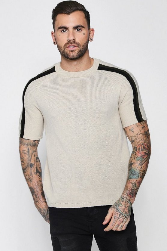 Raglan Arm Stripe Knitted T-Shirt