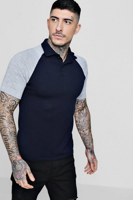 Raglan Colour Block Knitted Short Sleeve Polo