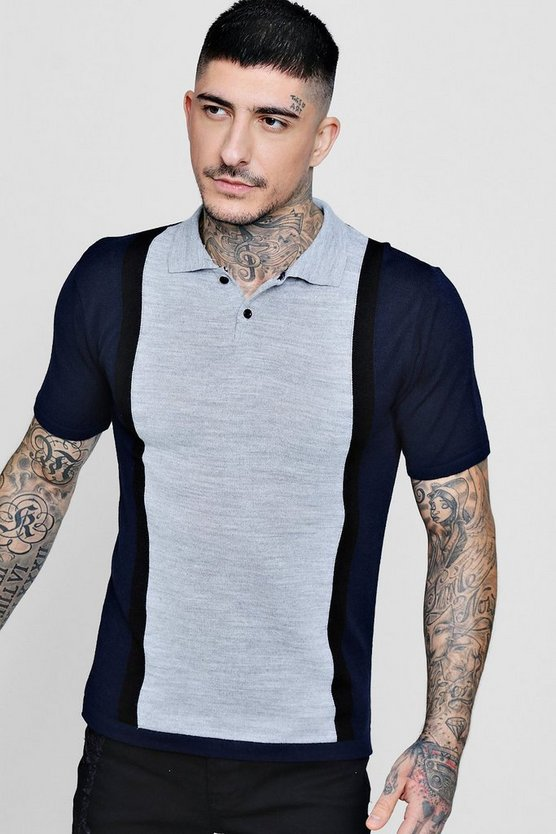 Colour Block Short Sleeve Knitted Polo