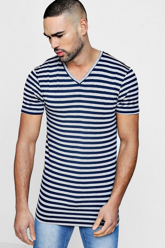 V Neck Muscle Fit Stripe T Shirt