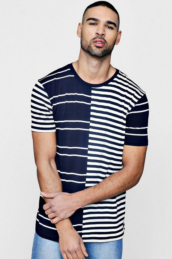 Crew Neck Contrast Stripe T Shirt