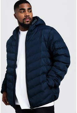 Mens Navy Big And Tall Quilted Zip Through Jacket