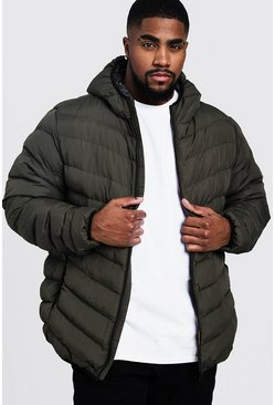 Mens Khaki Big And Tall Quilted Zip Through Jacket