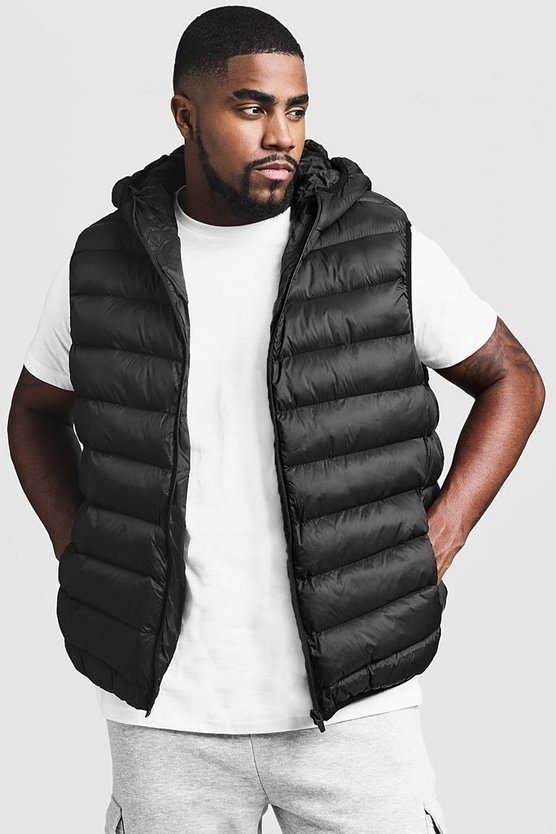 Black Big And Tall Quilted Hooded Gilet