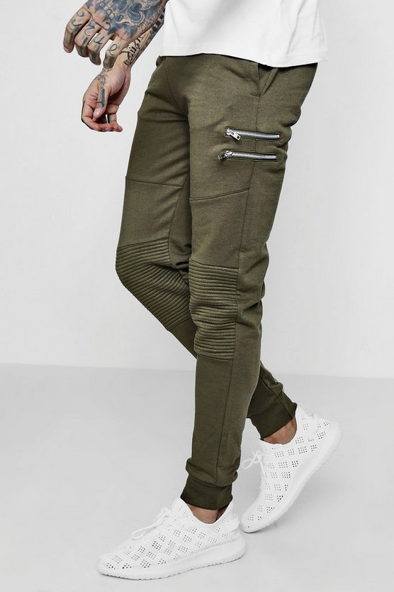 Skinny Fit Biker Zip Detail Jogger