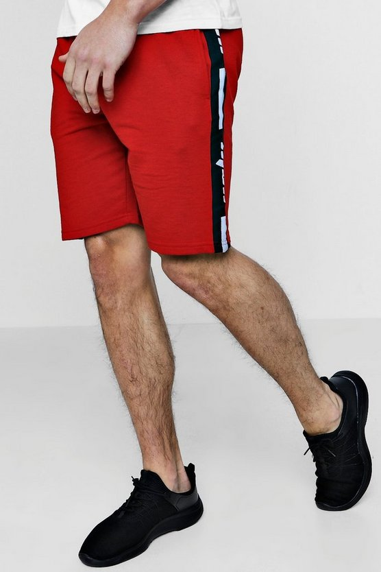 MAN Tape Jersey Mid Length Shorts