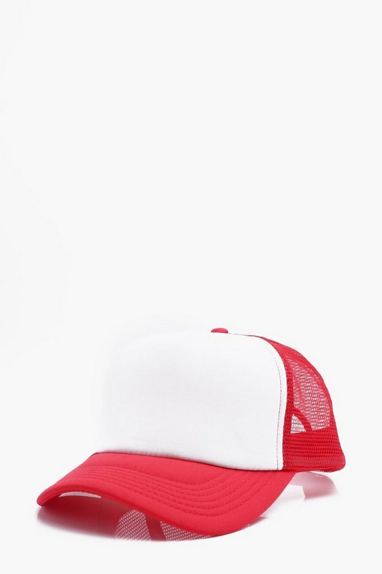 Mens Red Mesh Back Trucker Cap with Snap Adjuster